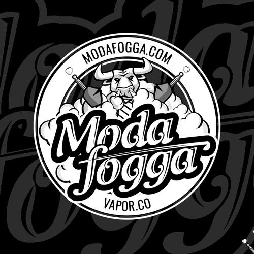 Humorous design with the title 'Logo for ModaFogga vapor company'