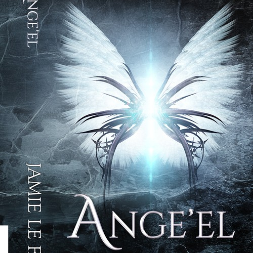 Angel design with the title 'Book one of the Ange'el series'