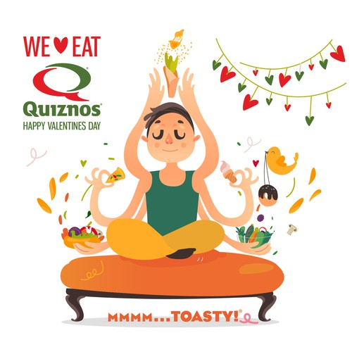 Yoga illustration with the title 'Quiznos We love eat'