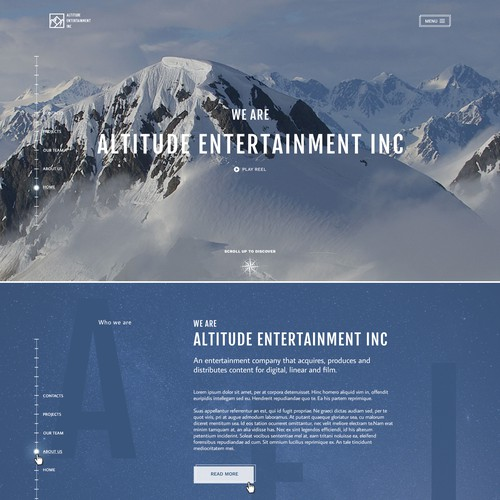 Media website with the title 'Website for Altitude Entertainment'