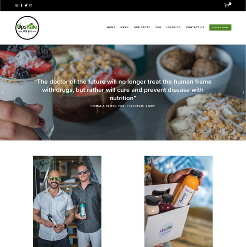 Ecommerce website with the title 'Upskale Juice & Co.'