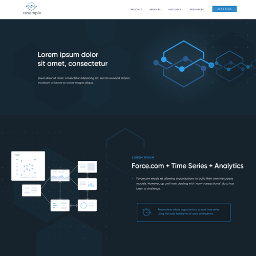 SaaS website with the title 'Resample -improve Sales & Service through data and analytics. '