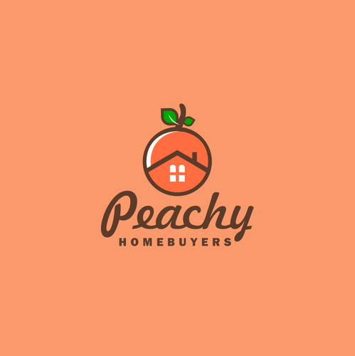 Combination brand with the title 'Design an iconic PEACHY brand to attract motivated house sellers'