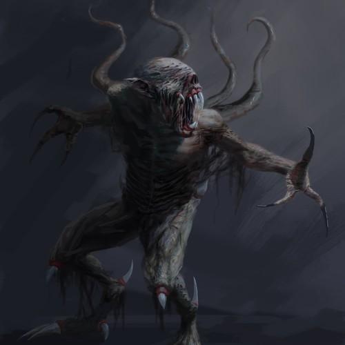 Creature design with the title 'alienígena 2'