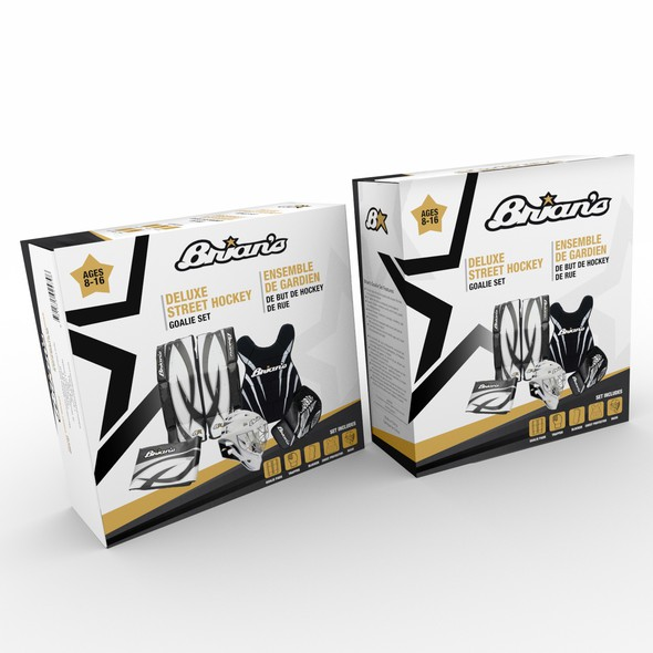 Sport packaging with the title 'Brian's Deluxe Street Hockey Goalie Set'