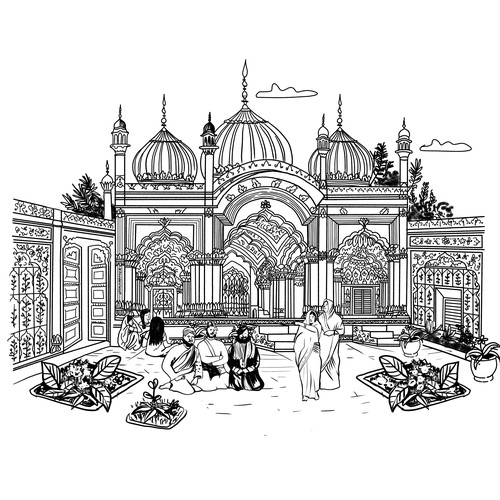 Building illustration with the title 'Indian Palace Building Arquitectural Illustration'