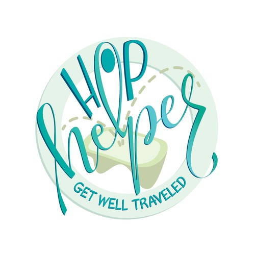 Blue and green logo with the title 'Logo concept for Hophelper'