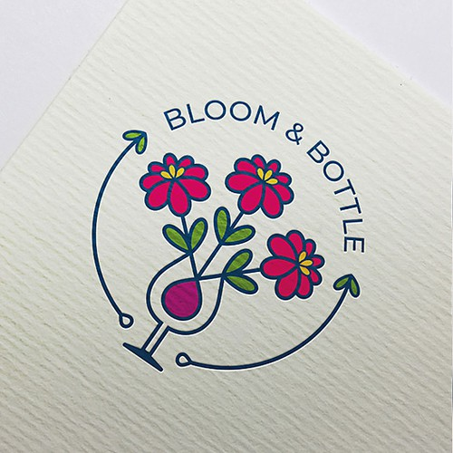 Bottle brand with the title 'Bouquet flower farm and bottle shop'