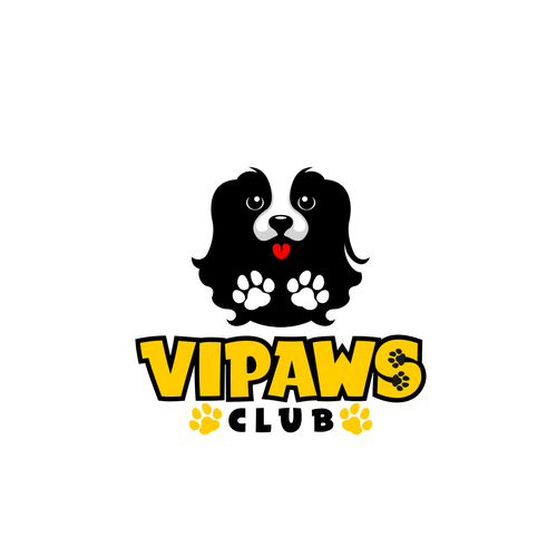 Dog paw logo with the title 'Interactive dog daycare and boarding center'