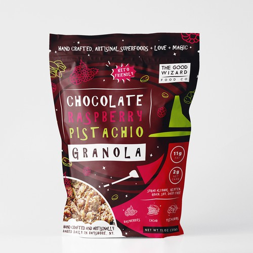 Granola packaging with the title 'Packaging for granola chocolate'