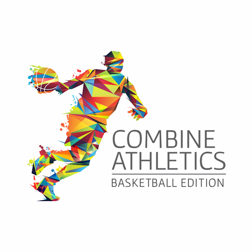 Basket logo with the title 'Logo design concept for Combine Athletics basketball camps.'