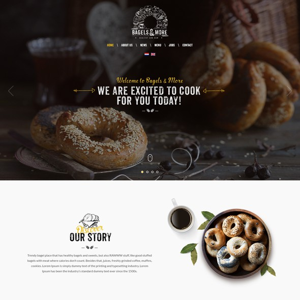 Delivery website with the title 'Bagels & More'