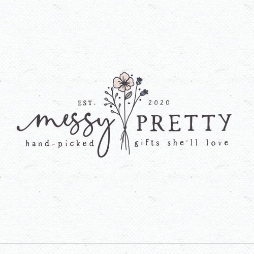 Botanical logo with the title 'Messy pretty'