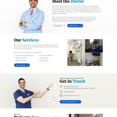 """Custom Home Page for """"Easy Dental Care"""""""