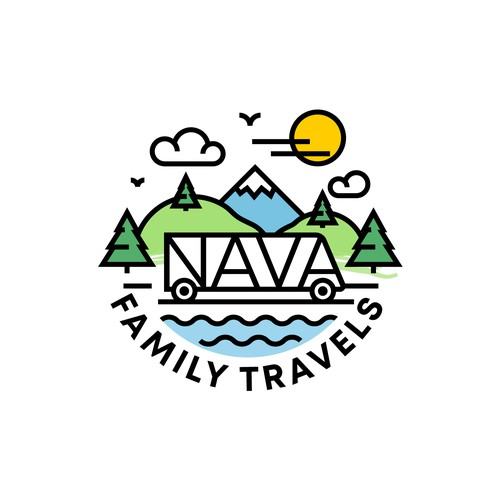 RV logo with the title 'fun logo concept for family travel'