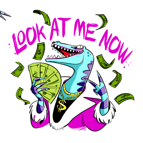 Sticker illustration with the title '20 dinosaur stickers for Diitalk chat application'