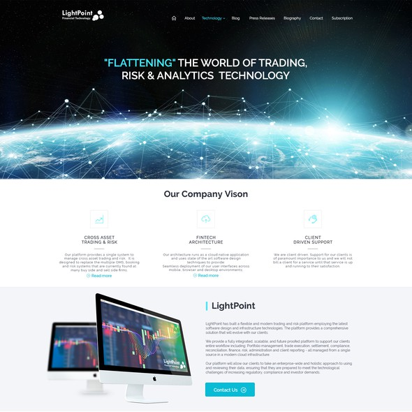 Trading website with the title 'Website Design'