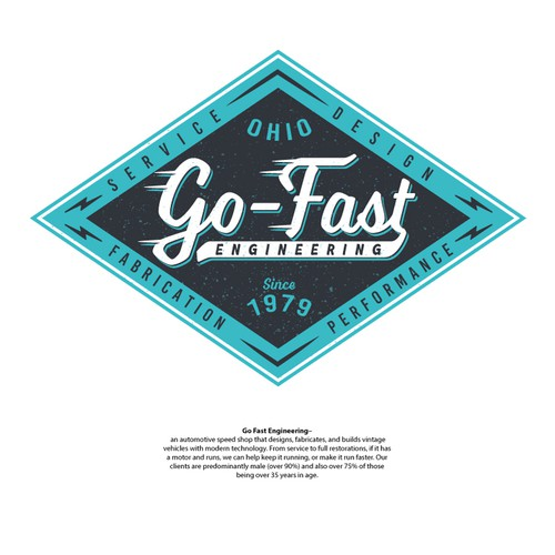 Hot rod logo with the title 'Go_Fast Engineering'