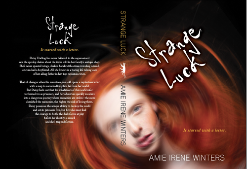 Teen book cover with the title 'Strange Luck cover'