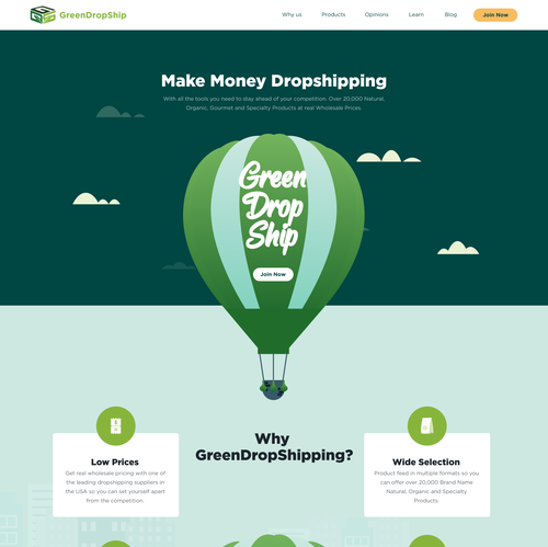 Grocery store design with the title 'Online Drop Shipping'