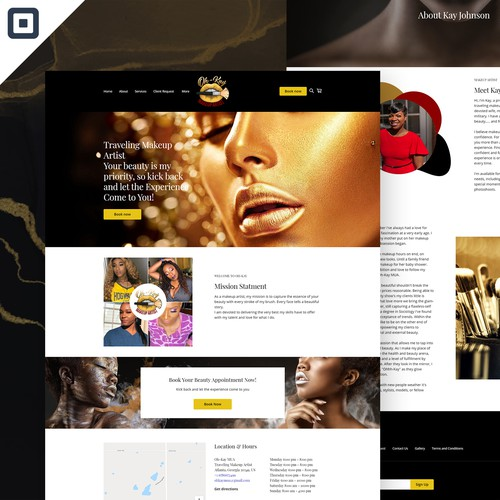 Store design with the title 'Oh-Kay - Makeup Artist Square Website'