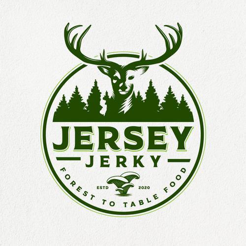 Mushroom logo with the title 'Jerky logo (Venison/Mushroom/Banana)'