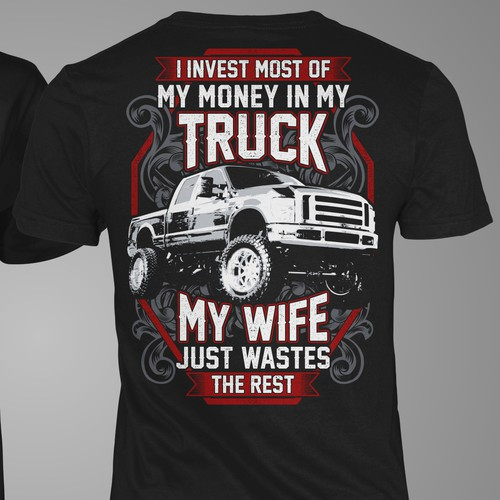 Truck t-shirt with the title 'T-Shirt Truck My Wife'