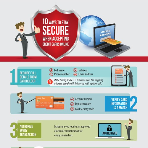 Ecommerce design with the title 'Infographic: 10 Ways to Stay SECURE when Accepting Credit Cards Online'