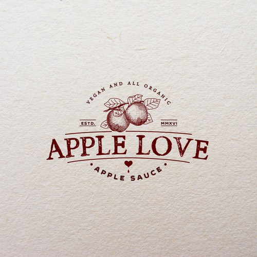 Apple logo with the title 'Logo for Apple Love Organic Apple Sauce'
