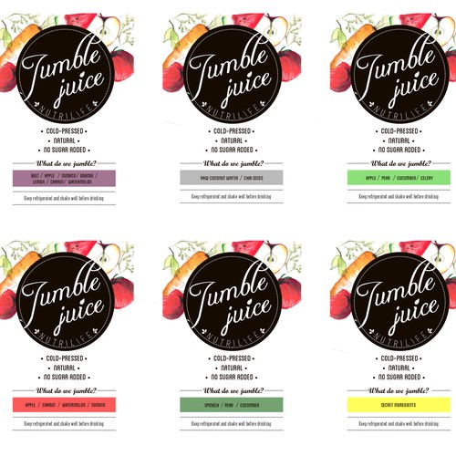 Vegetable label with the title 'Jumble Juice Label Design'