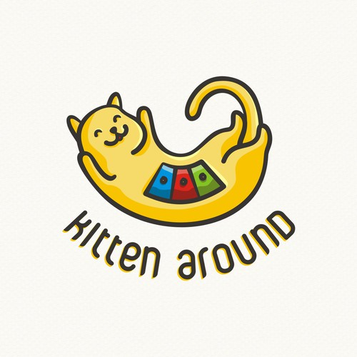 Kitten logo with the title 'Friendly logo for a cat products company'