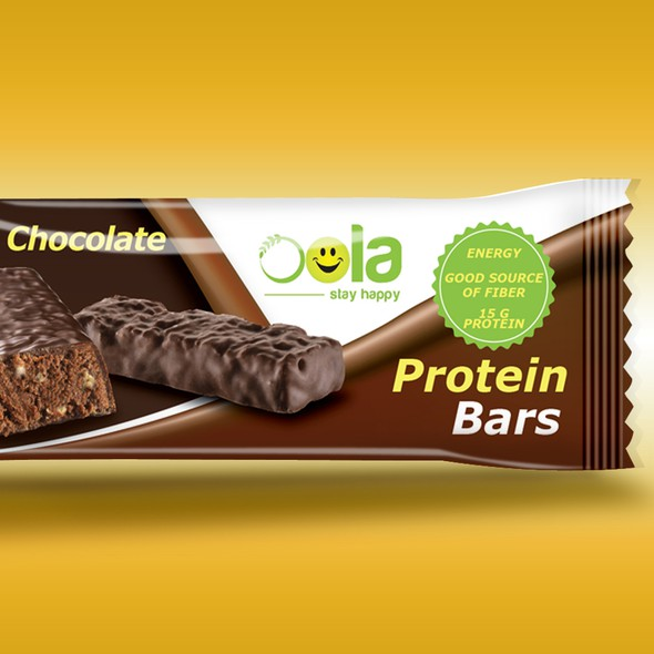 Dark chocolate packaging with the title 'Protein Bar wrapper'