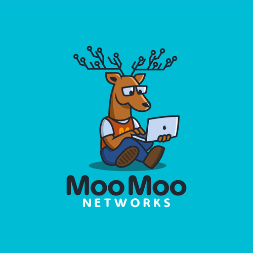 Geometric deer logo with the title 'MooMoo Network'