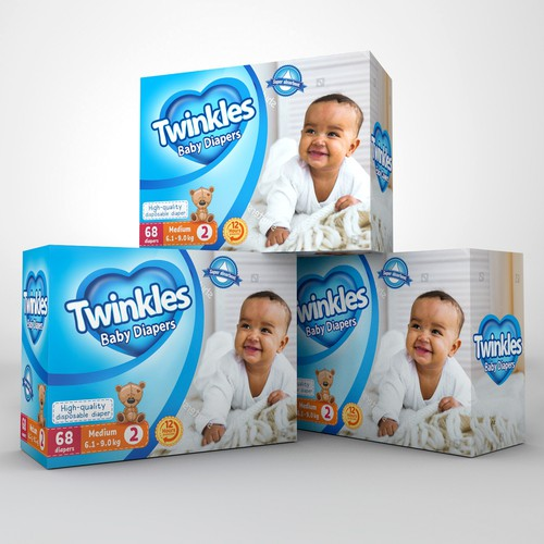 Kid's packaging with the title 'Luxury package design for baby diapers'