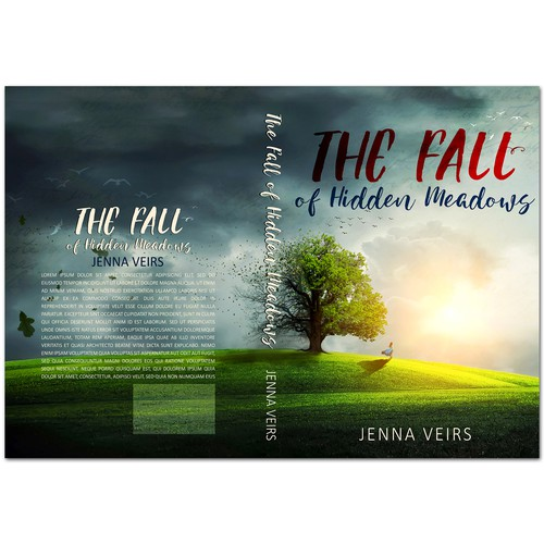 Fiction book cover with the title 'Book cover for literary/general fiction THE FALL OF HIDDEN MEADOWS'