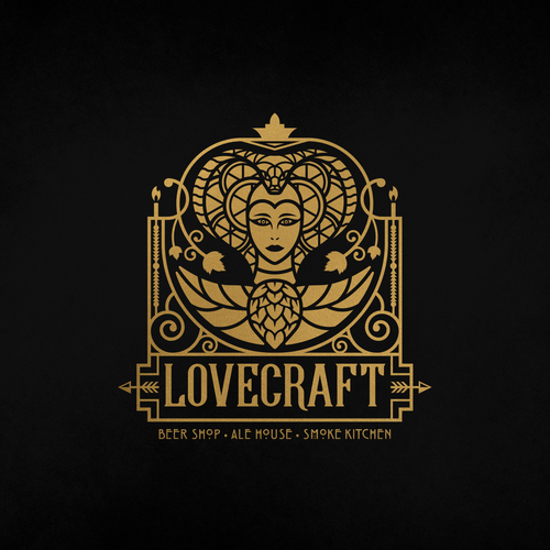 Hops logo with the title 'Lovecraft Beer Bar logo'