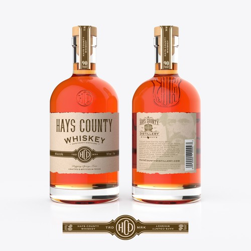Vintage packaging with the title 'Hays County Whiskey Bottle/label design'