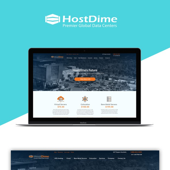 Cloud website with the title 'Host Dime data center web site'