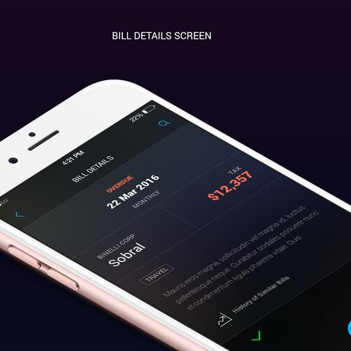 Organizer design with the title 'Dark theme UI for bill organizer app'