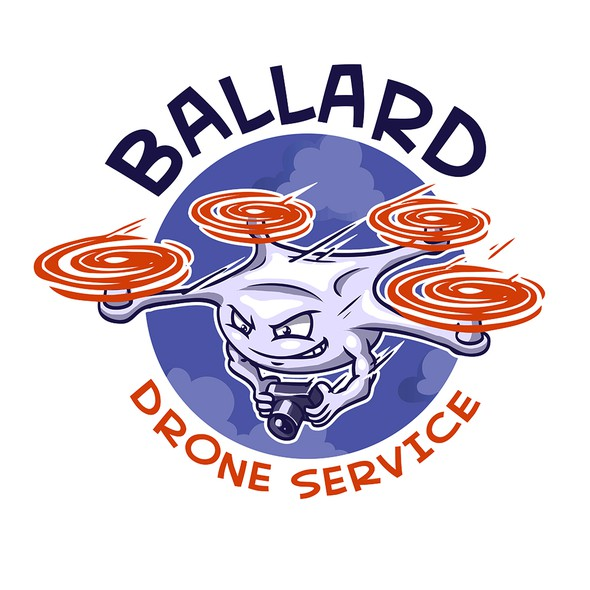 Quadcopter logo with the title 'Cartoon Drone Logo for Drone Business'