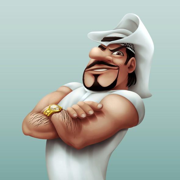 Arabian design with the title 'Funny Mafia Character'