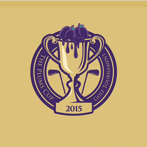 Trophy logo with the title 'The Plums Cup - Golf Tournament Logo Design'