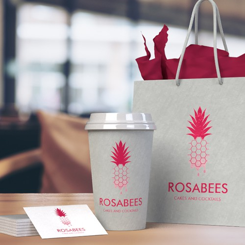 Pineapple brand with the title 'RosaBees - Cakes and cocktails logo'