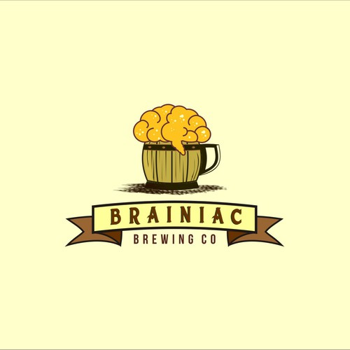 Foam design with the title 'Logo for Brainiac Brewing Co. '
