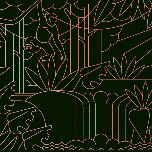 Jungle artwork with the title 'Jungle Scene Envelope Illustration'