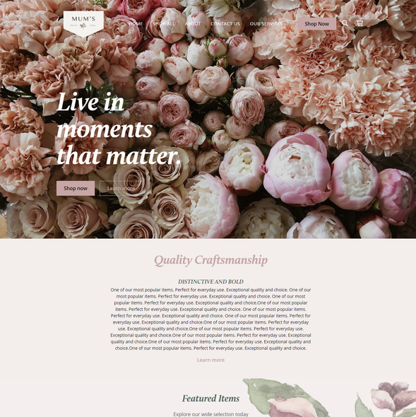 Resort design with the title 'SQUARE ONLINE STORE | Design for Mums Floral'