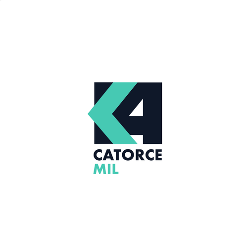"""Blue and green logo with the title 'Logo concept for creative work space """"14k""""'"""