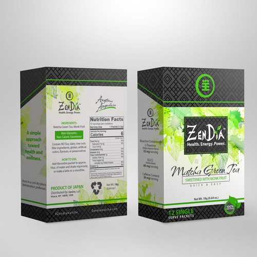 Green tea design with the title 'Matcha Tea '