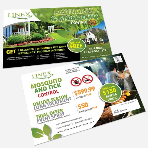 Lawn design with the title 'Linex Property Care Post Card'