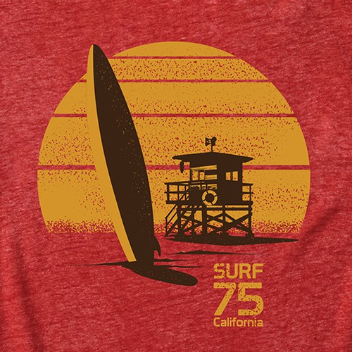 Sunset t-shirt with the title 'Vintage Surf Tees'